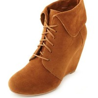 Fold-Over Collar Wedge Bootie: Charlotte Russe