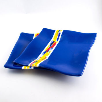 Cobalt Blue Fused Glass Plates, Dinnerware Set, Square Dinner Plates, Modern Design, Dining Room Decor, Wedding Gift for Bride and Groom