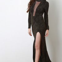 Metallic Knit Mesh Window Maxi Dress