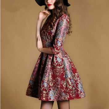 Stylish Elegant Slim Round-neck Three-quarter Sleeve Dress One Piece Dress [4918633540]