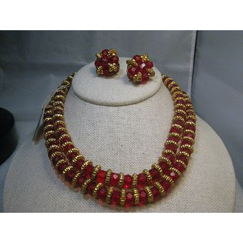 "Vintage Red Crystal Beaded Necklace & Earrings Set,  Double-Strand, 15"", Clip Earrings, Geno Importers"