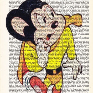 Mighty Mouse Cartoon Art Poster- Upcycled Dictionary Print Book Page Art Print On Dictionary Book Page Dorm Wall Decor