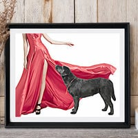 Labrador art Woman with dog Long red dress High heels Fashionable art Black dog print Modern pop art Dog poster print Golden retriever art
