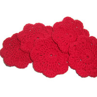 Smoking Red Chili  - Face Flower Wash Cloths ... mini size ... Set of 5 ... 100 percent cotton ...