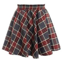 Elastic Waist Pleated Plaid Skirt | Choies