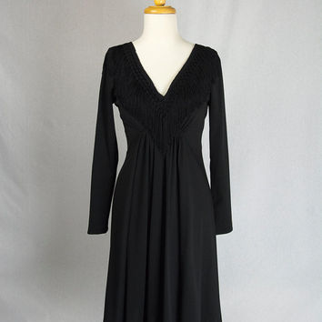Vintage 1970's Black Fringe Dress Boho Cocktail Party