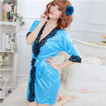 Sexy Women's Silk Robe Lingerie G-string Nightgown Sleepwear Dress Bathrobe S1 SM6