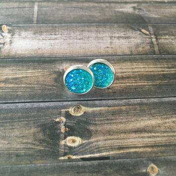 Aqua Druzy Earrings Aqua AB Druzy Stud Earrings Sparkly Aqua Faux Druzy Earrings Aqua Druzy Earrings Aqua Colored Faux Druzy Earrings (E339)