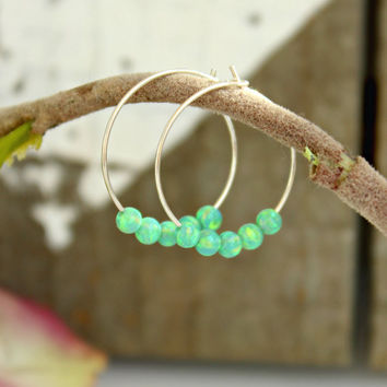 Small Hoop Earrings, opal Hoop Earrings, Green Opal beads, Sterling silver earrings, Gypsy Hoops, Tribal earrings, opal jewelry, minimalist