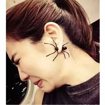 E910 New 2016 Brincos Earing Boucle Bijoux Exaggeration Black Spider Earrings Studs For Women Earings Girl Jewelry One Direction