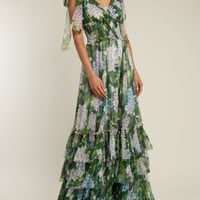 Hydrangea-print V-neck smocked-waist silk gown | Dolce & Gabbana | MATCHESFASHION.COM US