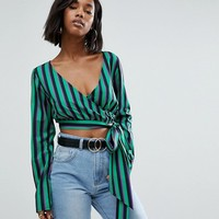 PrettyLittleThing Striped Wrap Blouse at asos.com