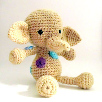 Amigurumi Spotted Elephant Stuffed Animal by HookAndStitches