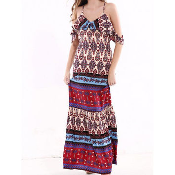 Exotic Tribal Pattern Flouncing Backless Dress