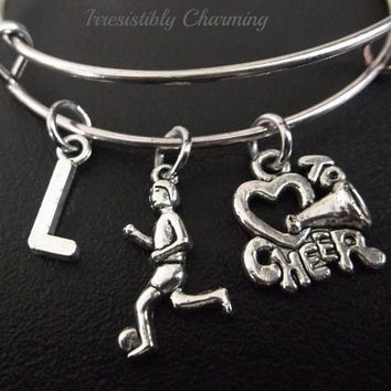 Cheering on your favorite soccer player Stainless Steel Expandable Bangle, monogram personalized item No.220