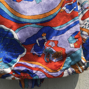 Vintage Peter Max One Piece Velvet Bathing Suit Swim Rainbow  psychedelic