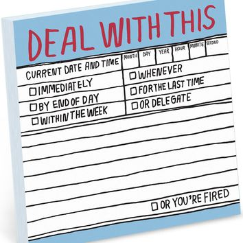 Deal With This Handwritten Sticky Notepad
