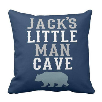 LITTLE MAN CAVE Pillow - Rustic Nursery Decor - Boy Name Pillow - Little Man Cave - Boy Woodland Decor - Tribal Pillow Cover or With Insert