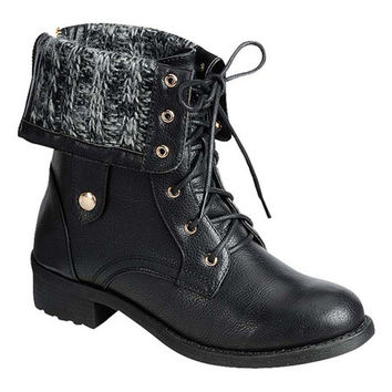 Refresh Black Fold-Over Knit Dason Boot | zulily