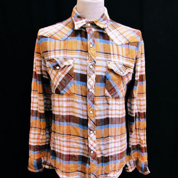 Retro SALT VALLEY Hipster Plaid Lumberjack Designer Shirt Medium