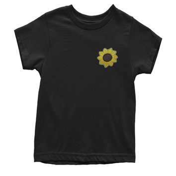 Embroidered Sunflower Patch (Pocket Print) Youth T-shirt