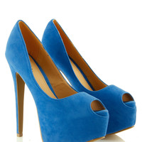 Blue Peep Toe Platform Heel at Fashion Union