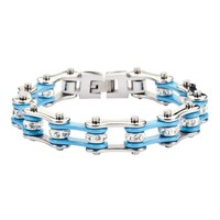 Turquoise and Silver Stainless Steel Chain Bracelet