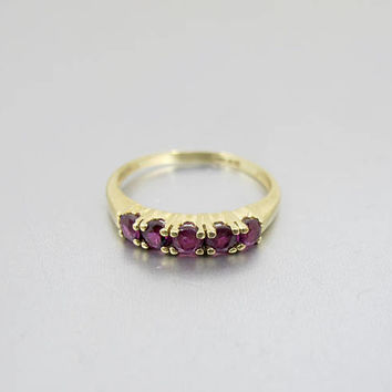 10K Ruby Band Ring. Yellow Gold Ruby Spinel Eternity Wedding Band Ring. Stacking Ring. July Birthstone Jewelry. Size 6