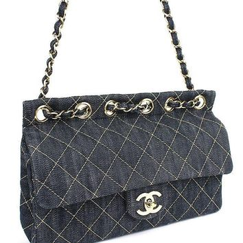CHANEL Quilted Matelasse Blue Sparkring Denim Chain Shoulder Bag #37749