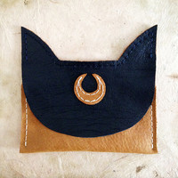 Handmade Leather navy and tan Sailor Moon Luna cat wallet card case