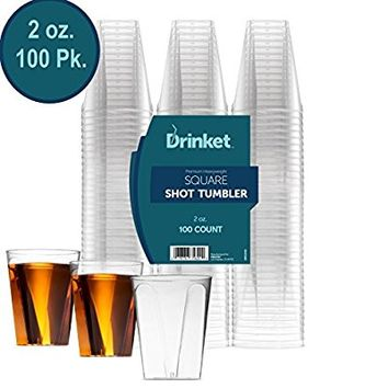 DRINKET CLEAR PLASTIC SHOT GLASSES 2 Oz - Disposable Shot Glasses Bulk - Wine Tasting Cups - Small Plastic Tumbler - Square Shooter, Whiskey Mini Shot Cups - small plastic cups bulk - 100 Pack.