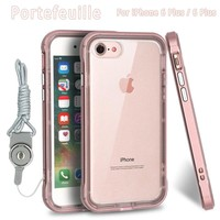 Portefeuille 360 Degree Full Protective Case For iPhone 6 S plus iPhone 6S Plus PC Frame TPU Shockproof Phone Cover Accessories