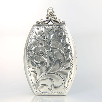 Victorian Locket, Engraved Sterling silver Etched, Floral Flower Antique jewelry name Judith