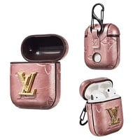 LV Newest Popular AirPods Bluetooth Wireless Earphone Case Protector (No Headphones) Pink