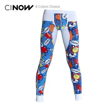 Male Cotton Thermal underwear long johns thin slim underpants legging Tights cotton pants warm free shipping