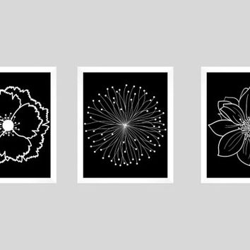 Set of 3 white flower blossoms on black prints custom colors modern art prints for nursery