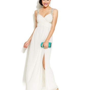 Trixxi Juniors' Beaded High-Slit Gown