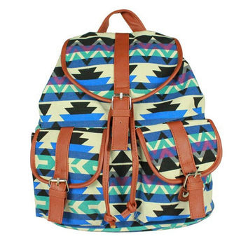 Women's Aztec Chevron Daypack Canvas Backpack Campus School Bookbag