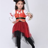 Shanghai Story little Girl Fantasia cosplay Pirate Captain Halloween Xmas party costume kids performance suits carnival c