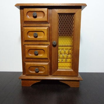 """Vintage Wooden Musical Jewelry Box Armoire with 4 Drawers and a Tall Side Compartment - Plays """"Memories"""""""
