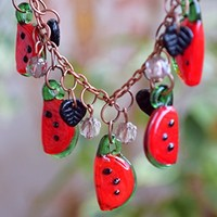 Watermelon necklace Fruit jewelry Lampwork necklace Glass bead necklace Fall necklace Autumn jewelry Berry Mini Food Teen girl gift Women gift Lampwork beads Fruit jewelry