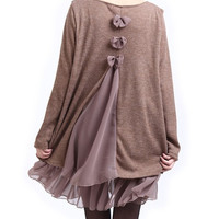 Dark Khaki Long Sleeve Lace Top Dress with Bow