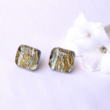 Fused Glass Earrings - Gold Dichroic Stud Earrings - Fused Glass Jewelry
