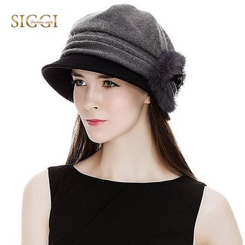 SIGGI Women Bowler Winter Hat Fedora Cloche Round Cap 1920s Warm Bucket Flower Vintage Fashion Autumn 69160