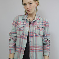 SALE - 90s - Pastel Blue & Pink - Button Up - Plaid Flannel Shirt - Grunge - Unisex