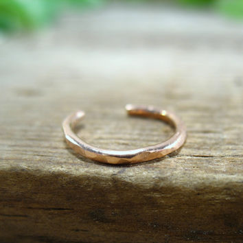 No Pierce Pink Gold Hammered