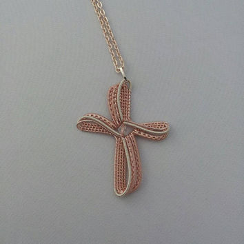 Wire Wrap Cross Pendant Wire Weave Rose Gold Silver Plated Wire with Rose Gold Chain Artisan Hand Made