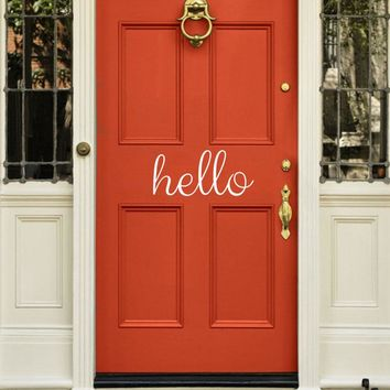 DCTOP Hello Door Vinyl Wall Sticker Front Door Decal Home Decor Removable Wallpaper Bedroom Baby Kids Living Room