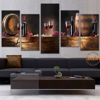 5 Panel Wall Art Fruit Grape Red Wine Glass Picture Art for Kitchen Bar Wall Decor Canvas Prints Wall Paintings Unframed