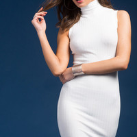 Ribbed Mock Neck Column Dress